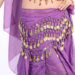 Yellow Gold Coin Australia - TAKEMORE7 Belly Dance Waist Chain Gold Coin 3 Rows Belly Dance Belt Hip Scarf Skirt Wrap Chain Dancing Costume for Women(Yellow)
