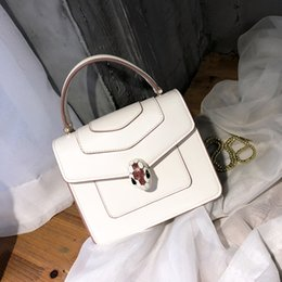 Square Chains Australia - Elegant2019 Snake Concise Woman Joker White Chain Square Package Messenger Small Bag