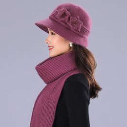 Rabbit Fur Scarves Caps Australia - BING YUAN HAO XUAN Design Double Layer Winter Hats for Women Rabbit Fur Hat Warm Knitted Hat and Scarf Large Flower Cap