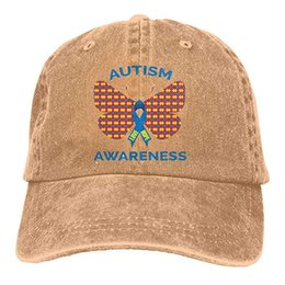 2376fe54 2019 New Cheap Baseball Caps Autism Awareness Butterfly Ribbon Mens Cotton  Adjustable Washed Twill Baseball Cap Hat