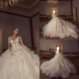 510a6ed5f60 2019 Vintage Wedding Dresses Julia Kontogruni V Neck Lace 3D Floral  Appliques Long Sleeve Plus Size Wedding Dress Bridal Gowns Custom Made