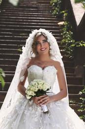 East African Wedding Dresses Australia - 3D-Floral Applique Tulle Saudi Arabic A Line Wedding Dresses African Dubai Ball Gown Bridal Gowns Zipper Back Middle East Wedding Dress