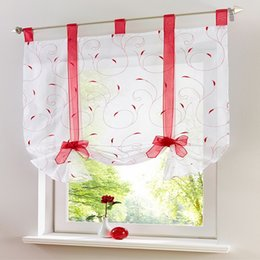 curtain height UK - European style Roman ribbon embroidered curtains adjustable height for kitchen bedroom balcony shading short curtains Tulles