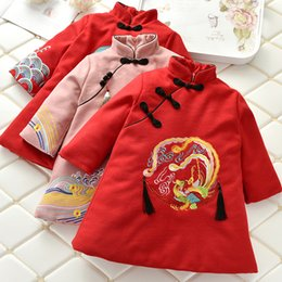 $enCountryForm.capitalKeyWord NZ - Tang Suit Dress for Girl Collar Emboridery White Crane Dragon Phoenix Traditional Chinese Clothing for Women Winter Print Tassel