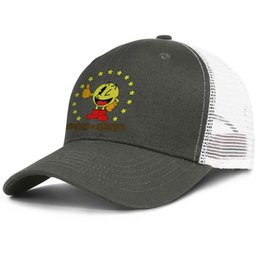 748b4010 Fashion Mesh Trucker hat Men Women-Pac-Man stickers pac man star designer  hats snapback Adjustable Golf cap Outdoor
