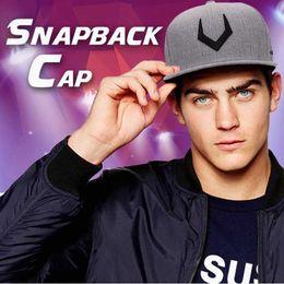 Discount gray snapback cap - new men's women's high-quality gray wool Snapback 3D perforated embroidery hip hop cap flat bill tennis cap