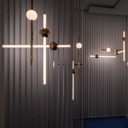 EnginEEring pEndant online shopping - Minimalist Line Art LED Horizontal Version Pendant Lights Metal Glow Ball For Bar Cafe Tea Shop Engineering Stairs Restaurant