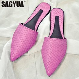 Figure Classics Australia - Occident Sexy Fashion Lady Summer Women Mujer Casual Fish Scaly Figure Babouche Pointed Toe Half Flats Slipper Mules Slides T692