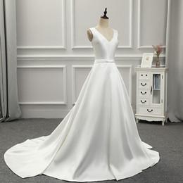 V Back Satin Wedding Dress Australia - 2018 New Simple Arrival Custom Made Satin V Neck Sleeveless with Waist Bow Back Lace Up Floor Length Wedding Dress Bridal Gown