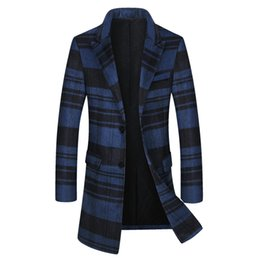 81a4bf9fd0 Mens plaid jackets winter online shopping - 2019 Winter Coat Long Men Warm  Striped Wool Thick