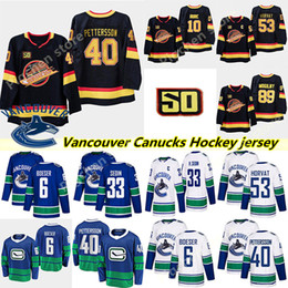 Wholesale 2018-2019 Mens Vancouver Canucks #40 Elias Pettersson Hockey Jerseys Stitched #6 Brock Boeser #53 Bo Horvat Vancouver Canucks Jersey