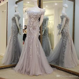 $enCountryForm.capitalKeyWord Australia - Red evening gown Prom dresses Grey off shoulder lace up back beaded sequins lace mermaid Party formal dress Real Photos