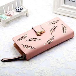 Multi Color Hand Bag Australia - Ladies purse hollow leaf design simple personality hand bag fashion long multi-card multi-color wallet card bag