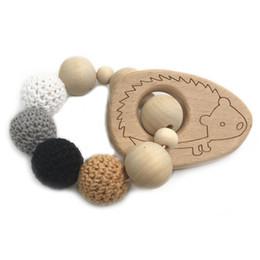 CroChet baby teether online shopping - Crochet Pearl Teething Ring Untreated wood Baby Teether With Organic Wood Animal Bracelet Baby Mama Kids Wooden Teether Bangle