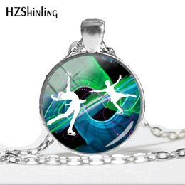 $enCountryForm.capitalKeyWord NZ - 2019 NEW Figure Skating Necklace Dance On Ice Pendant Handmade Jewelry Round Glass Dome Photo Pendants Necklaces HZ1