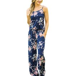 women jumpsuit black blue UK - Spaghetti Strap Jumpsuit Women 2018 Summer Long Pants Floral Print Rompers Beach Casual Jumpsuits Sleeveless Sashes Playsuits Y19042003