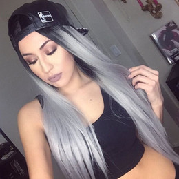 $enCountryForm.capitalKeyWord Australia - 8A Brazilian human hair natural straight Ombre gray full lace hair wig for women with baby hair lace front wig can be dyed