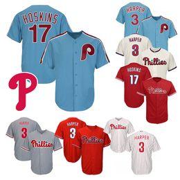 c3eb38420 Philadelphia Baseball Jerseys 3 Bryce Harper 17 Rhys Hoskins 27 Aaron Nola  Red Blue White New Cool Base Stitched Jersey