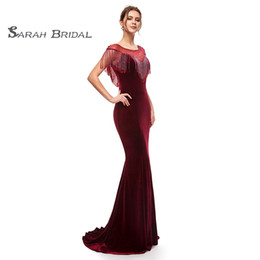 Chinese  Burgundy In Stock Memaid Prom Evening Wear 2019 Party Gowns Beading Sexy Formal Pageant Dresses Custom Velvet Boutique Occasion Dress 5400 manufacturers