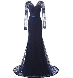 30582d17 Party Dress Evening Wear UK - Long Sleeves Evening Dress Mermaid Applique  Lace Women Lady Wear