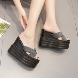 Discount new fashion slippers men - 2019 summer new fashion ultra high with women's slippers Korean version of the thick bottom wedge platform 13 cm ca