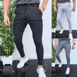 flat black buttons Canada - Striped Pants Men Plus Size Casual Ankle-length Trousers Mens Fashion Streetwear Black All Match Bottom Males Button Hot Selling