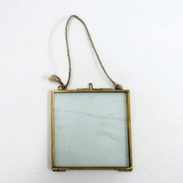 photo frames glass Australia - Gift Antique Brass Hanging Picture Glass Photo Frame Metal Portrait Vintage Free Stand Hanging Picture Frames Home Decor Gift