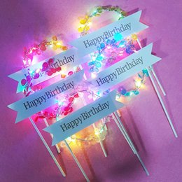 Decorating Birthday Cupcakes Australia - LED Crystal Cupcake Cake Toppers Baby Shower Girl For Happy Birthday Cake Topper Party Decoration Suppliers Cake Decorating