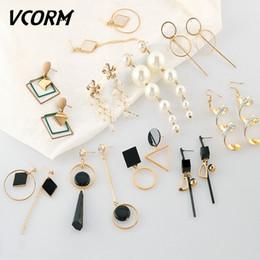 $enCountryForm.capitalKeyWord NZ - VCORM Fashion Korean Vintage Geometric Earrings for Women Metal Gold Silver Tassel Drop Dangle Earring 2019 accessories Jewelry
