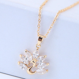 $enCountryForm.capitalKeyWord Australia - High-grade Fine Jewelry Fashion Accessories Zircon Unique Designer OL Water Drop Peacock Pendant Real Gold Charm Chokers Necklaces For Women