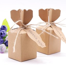 "card box kraft NZ - ""10pcs Kraft Paper Brown Candy Bags Gift Boxes Thank You Cards for Christmas Wedding Party Favors Decorations with Rope"""