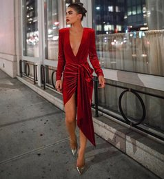 $enCountryForm.capitalKeyWord NZ - Women Deep V Neck Sexy Party Dresses Elegant Red Velvet dancing party Mini Dress 2019 Autumn Long Sleeve Irregular Bandage Bodycon Dress