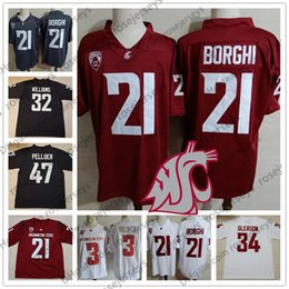 WSU Washington State Cougars 21 Max Borghi 47 Peyton Pelluer 32 James  Williams 34 Steve Gleason red white gray NCAA College Football Jerseys 961568a8e