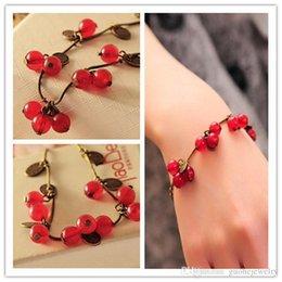 $enCountryForm.capitalKeyWord Australia - Hot New Fashion Wholesales Vintage Sweet Cherry Beautiful Fruit Bracelets For Women Pulseras Jewelry Accessories free shipping