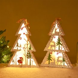tree shaped tables Australia - Christmas Tree Shaped LED Light Wooden Hanging AA Battery Powered Lamp Xmas Christmas Ornamernts Table Decoration Party Supplies