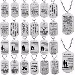 Discount dad daughter jewelry - Dog Tag Stainless Steel Pendant Wife Husband Couple Necklace Family Love Mom Dad Son Daughter Jewelry Gift For Mothers F