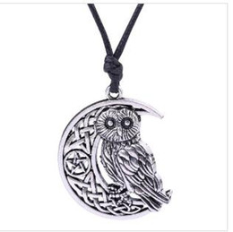 irish jewelry NZ - Z28 Vintage Supernatural Wicca Moon & Star hollowed-out Pendant Cute Owl Animal Necklace Irish Knot Viking Amulet Jewelry