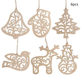 unfinished wood craft wholesalers Australia - Pack Of 6 Wooden Cutout Christmas Pendant With String Unfinished Wood Slices Xmas Tree Drop Ornament For Holiday DIY Crafting