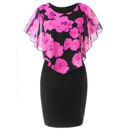 2019 vestido de verão sweet rose print xale capa manga magro hip lápis dress mulheres bodycon vestido de verão plus size vestidos 5xl em Promoção