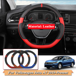 Jetta car accessories online shopping - D Type Car Styling Steering Cover For Volkswagen Jetta A7 Present Steering Wheel Covers Leather Interior accessory