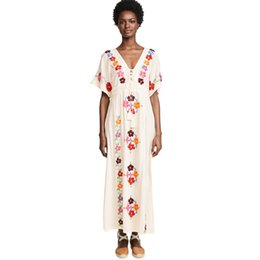b49d63d89d Best Bohemian # Maxi Dress Fashion White Embroidered Floral Deep V Neck  Sexy Summer Beach Holiday Vacation Women Loose Boho Dresses