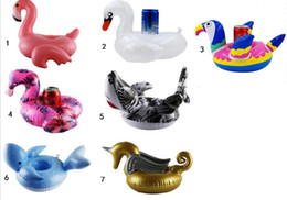 Coaster Cup Holder Australia - Inflatable Flamingo swan animal shape Drinks Cup Holder Pool Floats Bar Coasters drinking mat Children Bath Toy big size Hot Sale