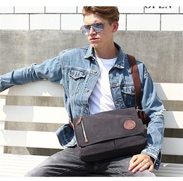 Vintage Military Leather Bags Australia - New Men Canvas Leather Crossbody Bag Military Army Vintage Messenger Bags Shoulder Bag For Sport Outdoor Packs