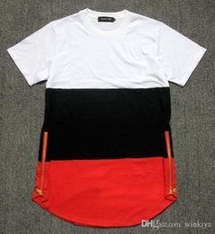 $enCountryForm.capitalKeyWord Australia - 2017 summer style mens t shirts white black red patchwork golden side zipper swag streetwear hip hop t shirts extended tees