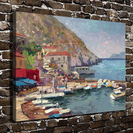 oil paint island Australia - Island Afternoon Greece,Thomas Kinkade,HD Canvas Printing New Home Decoration Art Painting Unframed Framed
