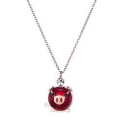 """Cute Pig Pendant Australia - Valentine's Day Birthday Gifts Cute Animal Jewelry Pink Cubic Zirconia Love Heart Pig Pendant Necklace for Women, 16"""" (Red Pig)"""