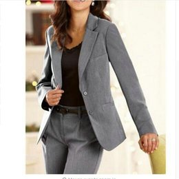 женские брюки оптовых-Female suit dress Notch Lapel Women s Business Office Tuxedos Ladies Suit Custom Made Pieces Pant jacket pants