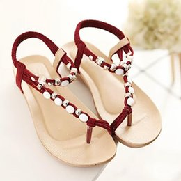 Bohemia Beaded flat online shopping - New Women Shoes Summer Sandals Comfort Sandals Flat Shoes Beaded Bohemia Leisure High Quality Peep Toe Flip Flops