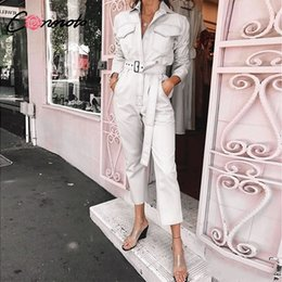 $enCountryForm.capitalKeyWord Australia - Conmoto 2019 Summer Casual White Cotton Long Sleeve Jumpsuit Women Fashion Button Jumpsuit High Waist Belt Jumpsuit T4190612