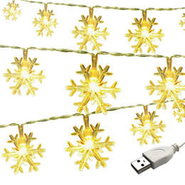 curtains for parties UK - LED Fairy Lights LED Christmas Lights 3M 6M 10M USB Snowflake Lamp Holiday Lighting for Indoor Curtain String Lamp